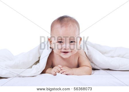 Cute Baby Laughing Under Blanket