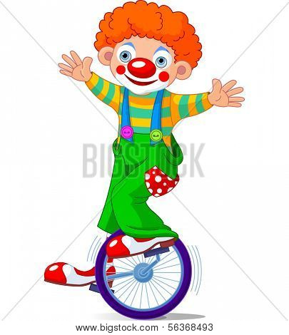 Cute Circus Clown on Unicycle. Raster version.