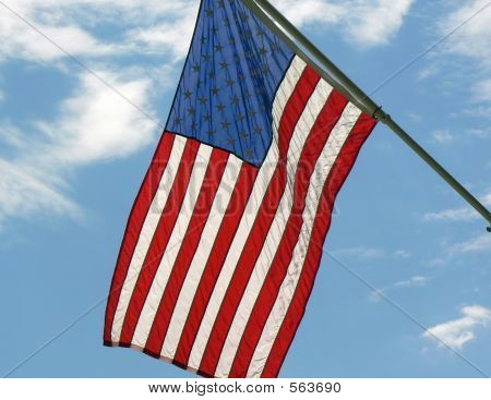 American Flag On Staff