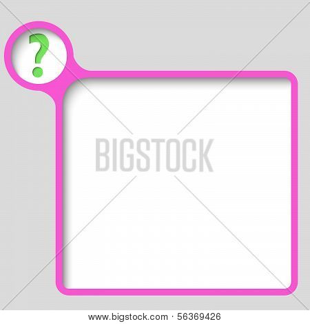 Pink Vector Text Frame With Question Mark