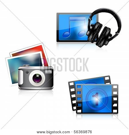 Set of glossy media icons - photo/music/video