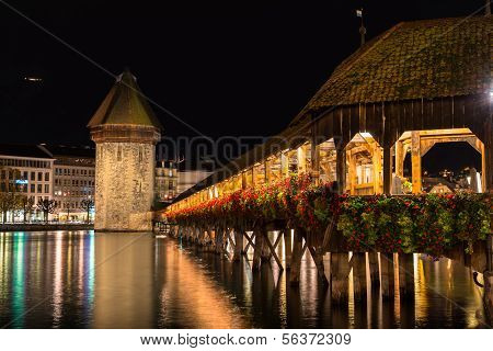 Panoramic view of wooden Chapel bridge and old town of Lucerne, Switzerland