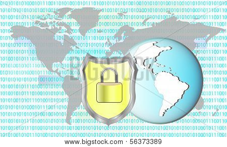 Illustration Of Protection Cyber Crime. Lock With Earth. Elements Of This Image Are Furnished By Nas