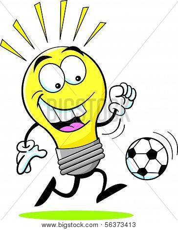 Cartoon Light Bulb Playing Soccer