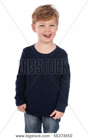 Smiling Boy In Casual Cloths.