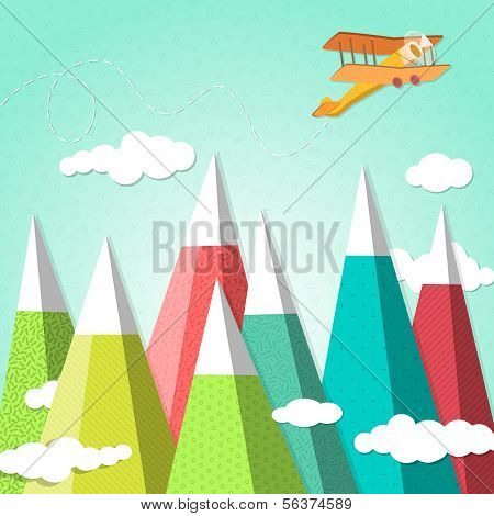 mountain background with a biplane