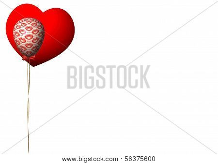 Classic Red Heart with Valentine Balloon