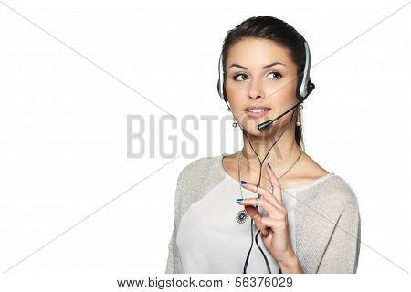 Smiling support phone operator in headset