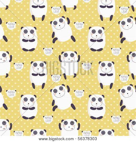 Cartoon pattern with cute panda guru.