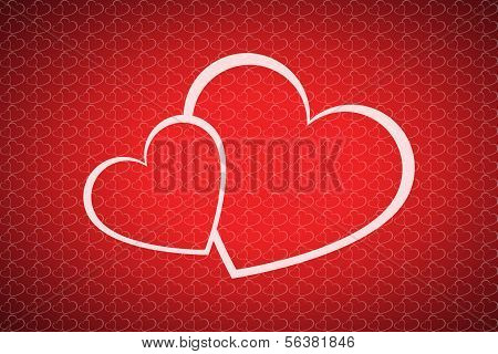 Vector valentines day background with two hearts