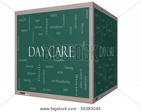 Day Care Word Cloud Concept On A On A 3D Cube Blackboard