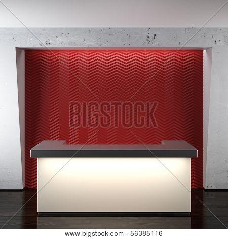 Glowing reception in modern office
