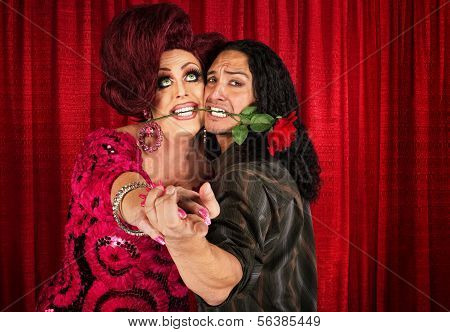 Embarrassed Man Dancing With Transvestite