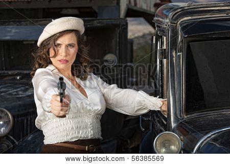 Tough Woman Holding Gun