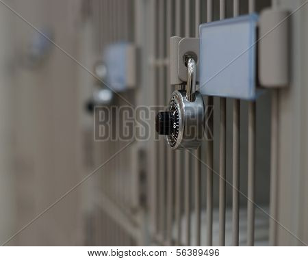 combination lock on locker with available text space