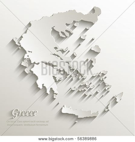 Greece map card paper 3D natural vector