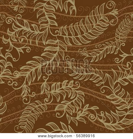 Seamless Hand Drawn Brown Elegant Floral Background With Spirals, Plants And Swirls