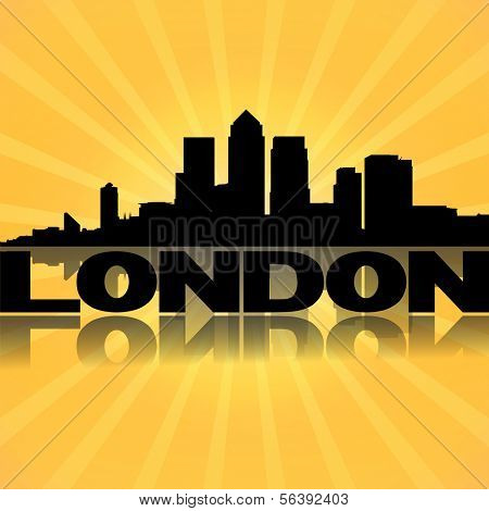 London docklands skyline reflected with sunburst illustration