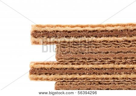 Stake of wafers with chocolate
