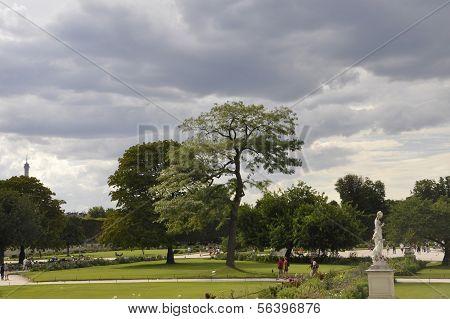 PARIS,FRANCE,AUGUST 18-Tuilerie Gardens in Paris,France