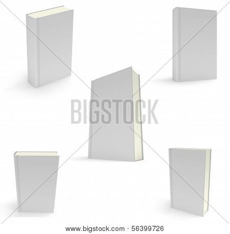 Set of blank books cover over white background.