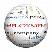 pic of paycheck  - Employment 3D Sphere Word Cloud Concept with great terms such as work company boss job and more - JPG