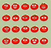 Vector cute cartoon tomato smile with many expressions icons