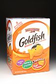 IRVINE, CA - January 21, 2013: 58 ounce box of Pepperidge Farm Goldfish snack crackers. Originally f