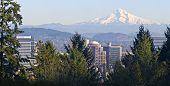 Mt. Hood Panorama And Downtown Portland Oregon
