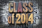 stock photo of degree  - Class of 2014 written in vintage letterpress type - JPG