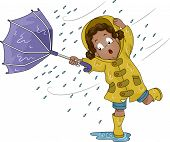stock photo of windy  - Illustration of a Little Girl Holding an Umbrella Upturned by Poweful Winds - JPG