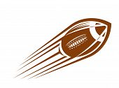 image of oval  - American football or rugby ball flying through the air at great speed leaving a motion trail - JPG