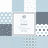stock photo of symmetry  - 12 Cute different dotted vector seamless patterns  - JPG