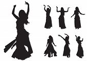 stock photo of stage decoration  - young girl dances east dance on stage - JPG