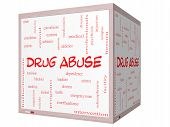 stock photo of methadone  - Drug Abuse Word Cloud Concept on a 3D Cube Whiteboard with great terms such as addiction heroin disease relapse and more - JPG
