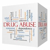 Drug Abuse 3D Cube Word Cloud Concept