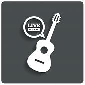 stock photo of karaoke  - Acoustic guitar icon - JPG