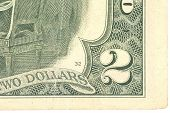 image of two dollar bill  - Fragment of two dollars bill - JPG