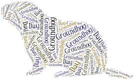 stock photo of groundhog  - Tag or word cloud Groundhog Day related in shape of groundhog - JPG