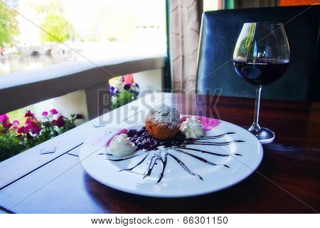 Dessert With A Glass Of Wine