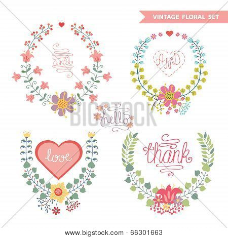 Cute Vintage Vector  Floral Wreath Set With Hearts