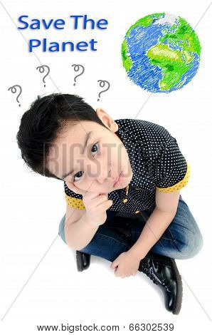 Cute Little Boy Isolate On White Background , Energy Concept .