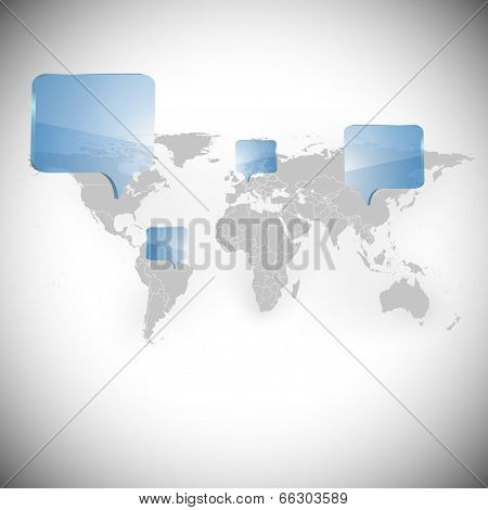 World map with dialog boxes background vector