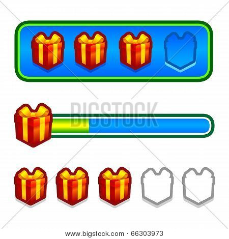 Progress bar with gift boxes