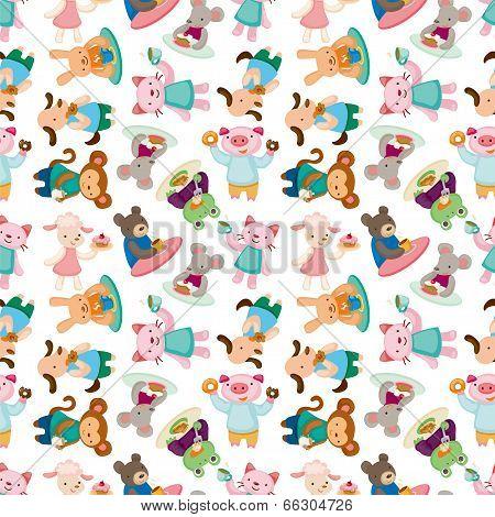 Cartoon Animal Tea Time Seamless Pattern