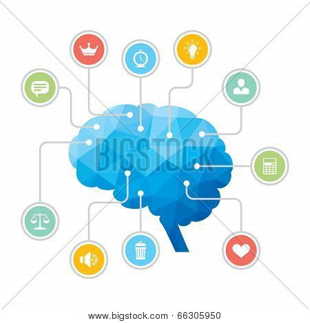 Human Brain - Blue Polygon Infographic Illustration