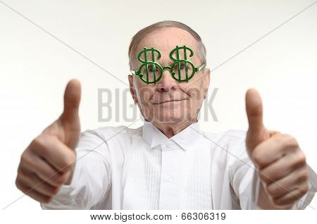 Man making the thumbs up positive hand sign