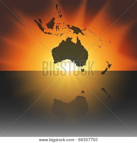 Australia map on the sunset background vector