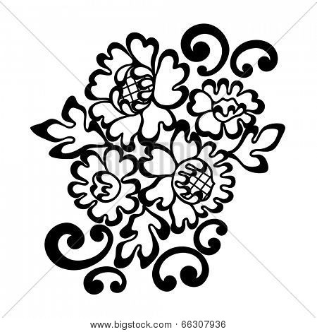 Black vector lace ornament