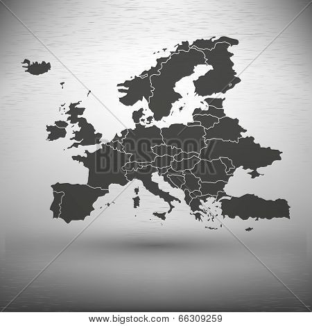 Europe map with the shadow on gray background